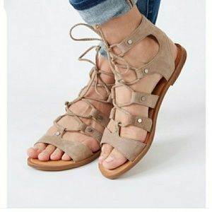 NEW-DOLCE VITA SUEDE LACE UP GLADIATOR SANDALS
